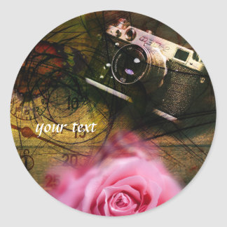 Unique vintage camera, clock and flower classic round sticker