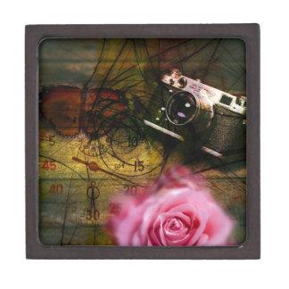 Unique vintage camera, clock and flower keepsake box