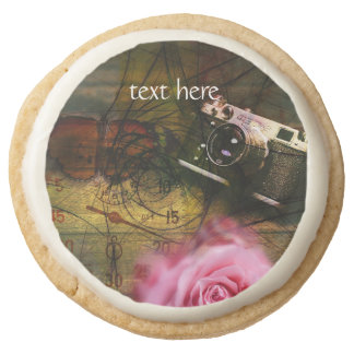 Unique vintage camera, clock and flower round shortbread cookie