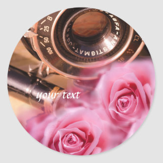 Unique vintage camera with pink roses classic round sticker