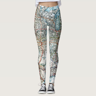 Unique Vintage Highway Map of the USA Leggings