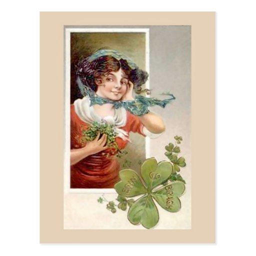 Unique vintage illustration - Girl with Shemrock Postcard