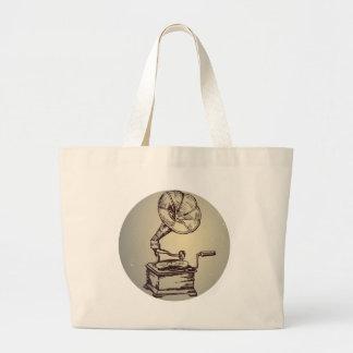 Unique Vintage Phonograph. Retro Style Gramophone Jumbo Tote Bag