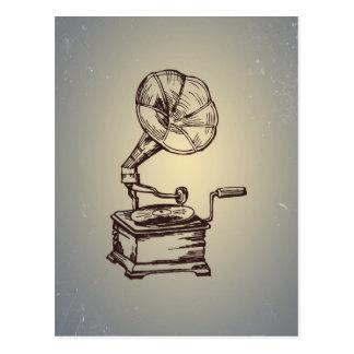 Unique Vintage Phonograph. Retro Style Gramophone Postcard