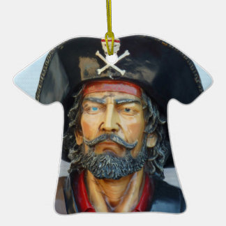 Unique vintage Pirate Double-Sided T-Shirt Ceramic Christmas Ornament