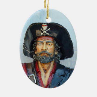 Unique vintage Pirate Double-Sided Oval Ceramic Christmas Ornament