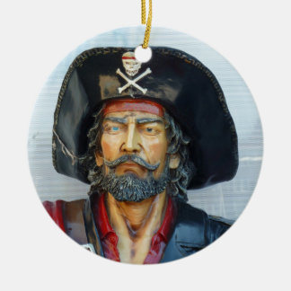 Unique vintage Pirate Double-Sided Ceramic Round Christmas Ornament