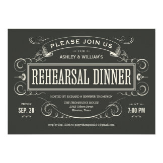 Unique Vintage Rehearsal Dinner Invitations