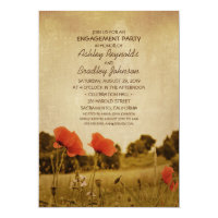 Unique Vintage Rustic Poppy Engagement Party Card