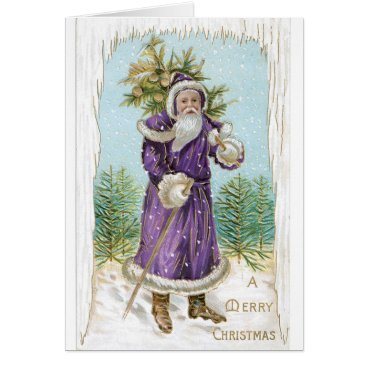 Christmas Themed Unique vintage Santa in Purple!  Christmas Card