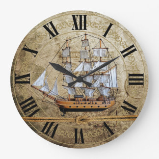 Unique Vintage Ship Design with Knotted Rope Large Clock