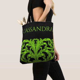 Unique Vintage Swirl Ombre Green Personalized Tote Bag