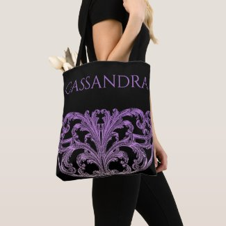 Unique Vintage Swirl Ombre Purple Personalized Tote Bag