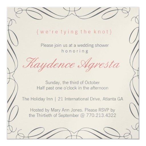 """Unique Vintage Wedding Shower Invitation 5.25"""" Square Invitation Card"""