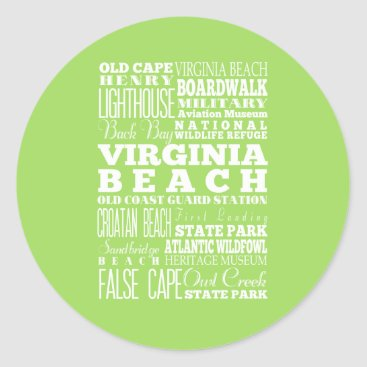Beach Themed Unique Virginia Beach, Virginia Gift Idea Classic Round Sticker