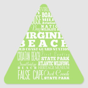 Beach Themed Unique Virginia Beach, Virginia Gift Idea Triangle Sticker