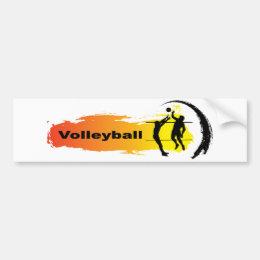 Unique Volleyball Emblem Bumper Sticker