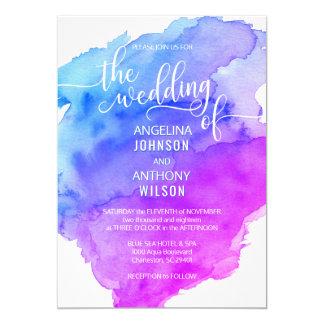 Unique Watercolor Blue Purple Wedding Invitations