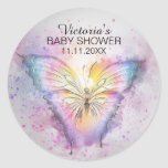 Unique Watercolor Butterfly Baby Shower Favor Classic Round Sticker
