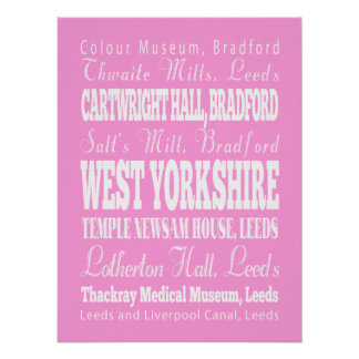 Unique West Yorkshire, United Kingdom Gift Idea Poster