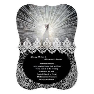 Unique White Peacock Lace Fancy Wedding Invitation