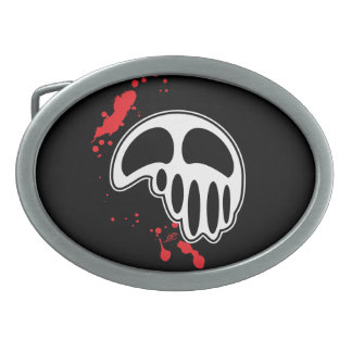 Unique White Skull with Red Blood Splatters Belt Buckles