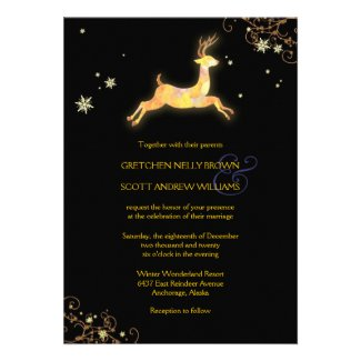 Unique Winter reindeer Modern Wedding Invitations