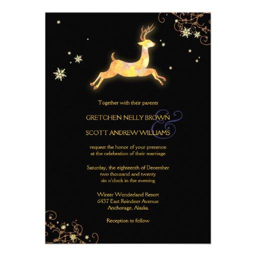 Unique Winter Reindeer Modern Wedding Invitations 5 X 7 Invitation Card