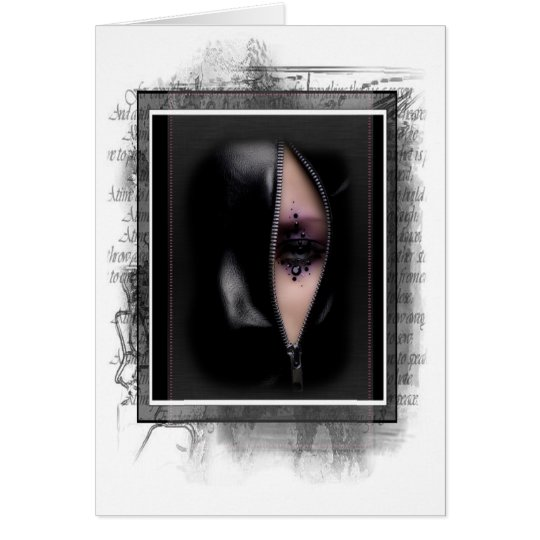 Unique Woman in Zipper Grunge Greeting Card