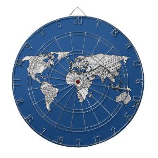 Unique World Map Art Doodle Dartboard