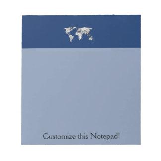Unique World Map Art Doodle Notepad
