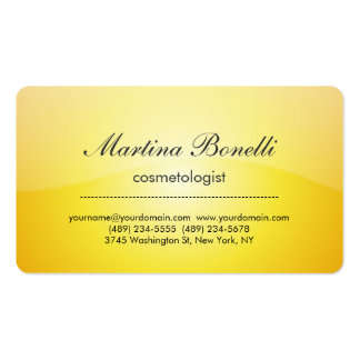 Unique yellow cosmetologist business card