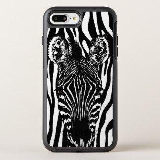 Unique Zebra Head on Zebra Print OtterBox Symmetry iPhone 8 Plus/7 Plus Case
