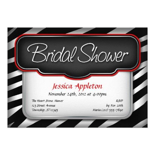 Unique Zebra Print Bridal Shower Invitations