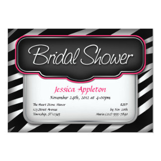 Unique Zebra Print Bridal Shower Invitations