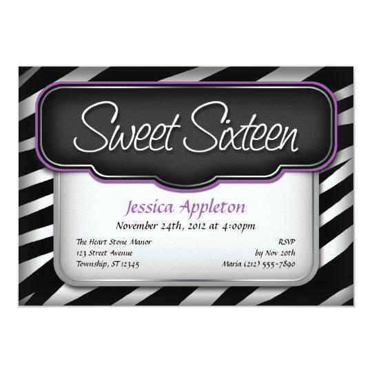 "Unique Zebra Print ""Sweet Sixteen"" Invitations"