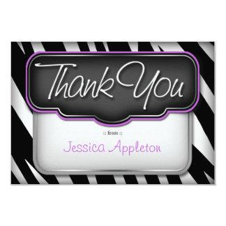 "Unique Zebra Print ""Thank you"" Flat Card"