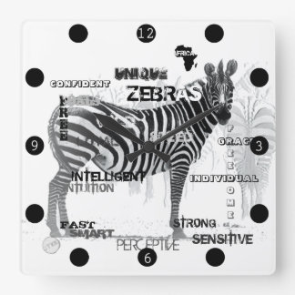 Unique Zebras Square Wall Clock