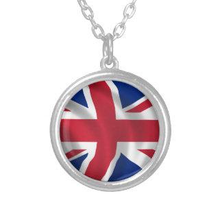 Unir-reino-Bandera Collar Plateado