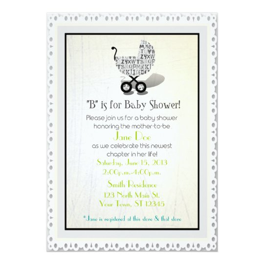 Unisex Alphabet Baby Carriage Shower Invites