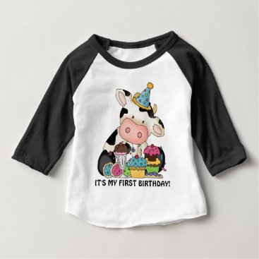 doodlesgifts Unisex baby cow First Birthday t-shirt