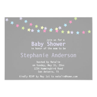 Unisex Baby Shower Colorful Pastel Stars Card