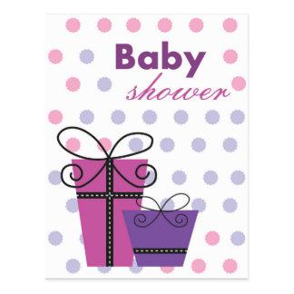 Unisex baby shower invite purple postcard