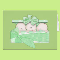 Unisex baby Triplets add words greeting card