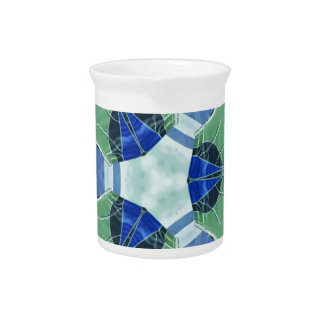 Unisex Blue Green Geometric Patterns Shapes Drink Pitcher