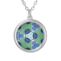 Unisex Blue Green Geometric Patterns Shapes Silver Plated Necklace