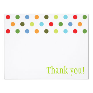 Unisex Dots Thank You Note 4.25x5.5 Paper Invitation Card