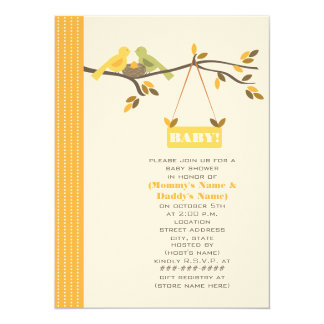 Unisex Fall Baby Shower Mommy & Daddy Birds & Nest Card