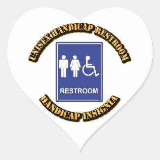 Unisex Handicap Restroom with Text Heart Sticker