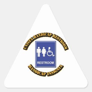 Unisex Handicap Restroom with Text Triangle Sticker